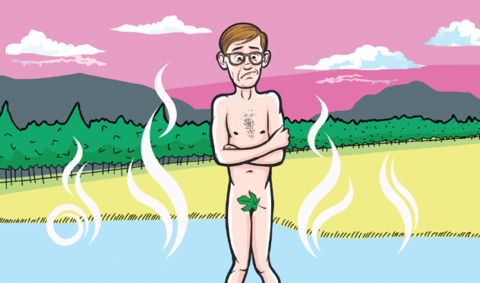 Illustrated nervous first-timer at clothing-optional hot springs