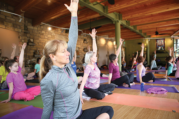 Yoga class at the SunWater Spa