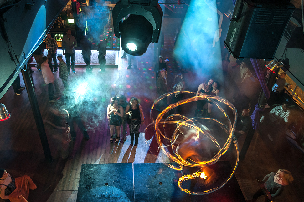 fire dancing at The Mansion