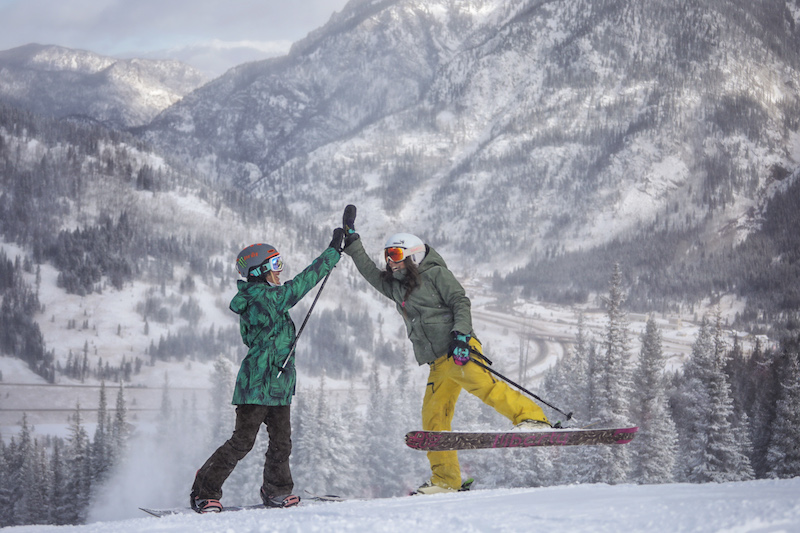 high fives for ski and snowboard at copper opening day