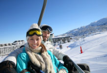 couple taking part in luvbyrd chairlift speed dating.