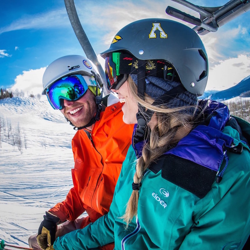 Couple take part in luvbyrd chairlift speed dating.
