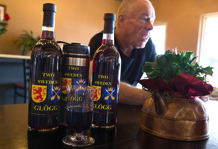 Persson and his Two Swedes Glögg bottles