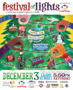 festival of lights holiday parade poster