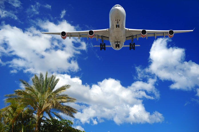 airfares jet over palm trees