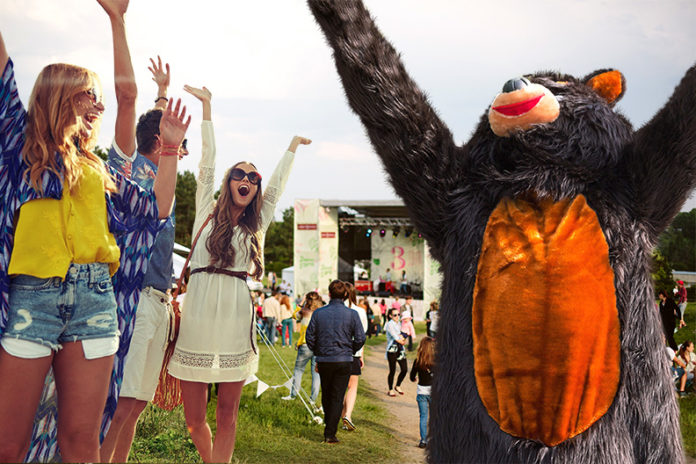 bear suit with festival crowd