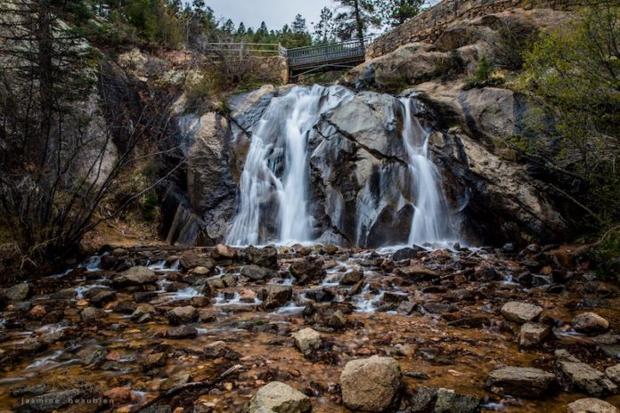 Helen Hunt Falls in N Cheyenne Canon Park, home to many of Colorado Springs best trails