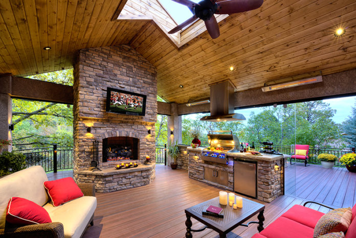 outdoor living space kitchen and deck