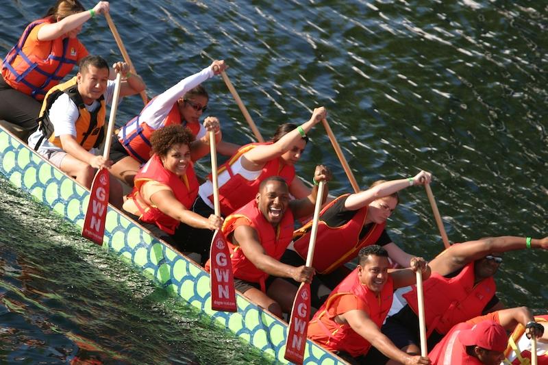 dragon boat rowers in gym dragon boat festival