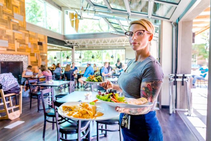 waitress in coquette's bistro