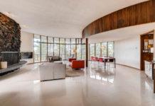 midcentury modern living room round house