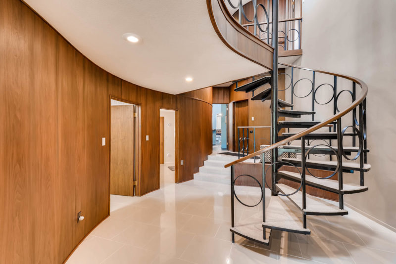 midcentury modern home spiral staircase