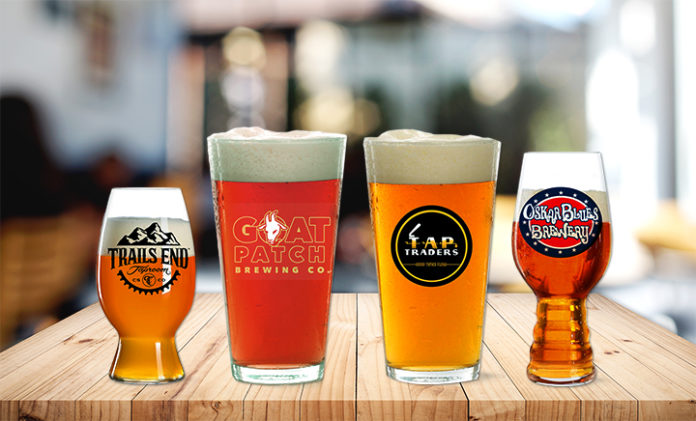 beer glasses from local breweries