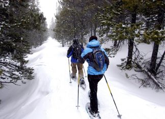 snowshoeing couple