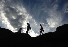 family trails hiker silhouette