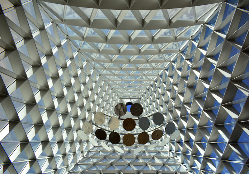looking up inside of tower in usafa polaris hall