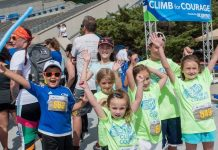 kids celebrate at Climb for Courage