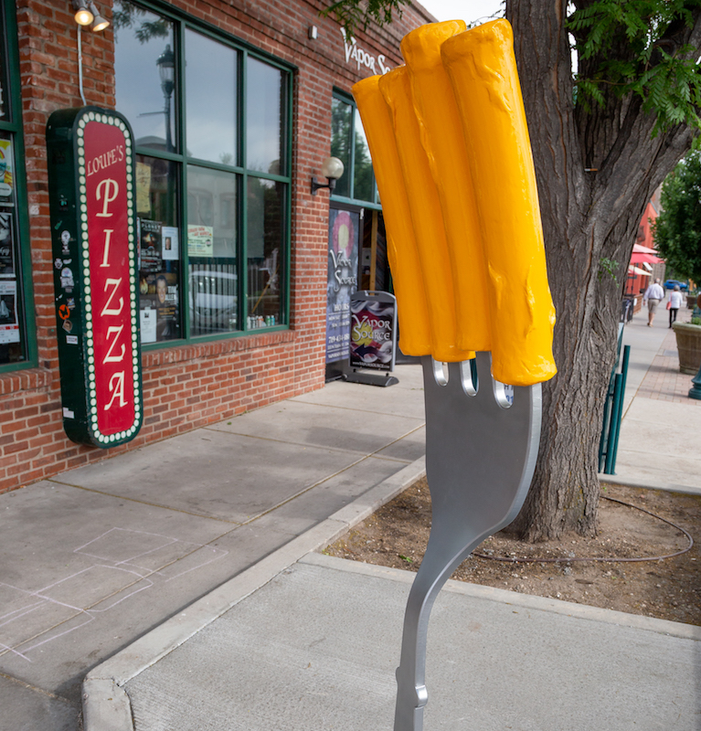 art on the streets fork with macaroni noodles sculpture