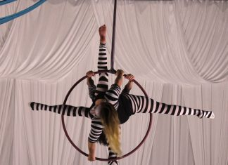 artpop performers aerial aura suspended from ring