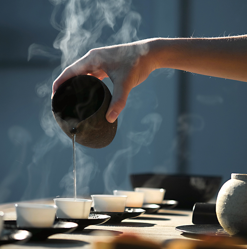 during Asian tea ceremony