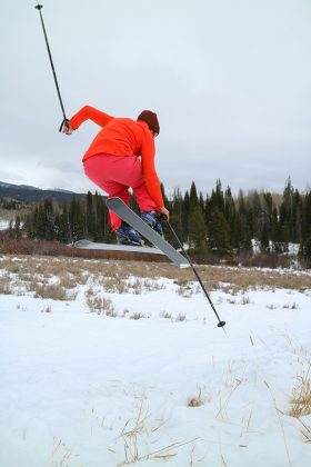 Snapshots of the yurt lifestyle: urged us to play, so we made a (an ill-advised) ski jump