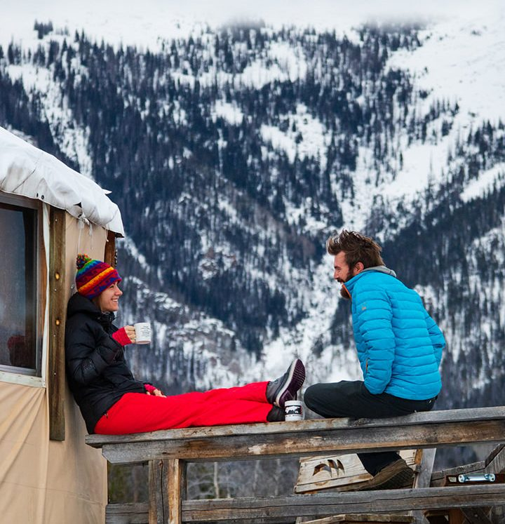Coffee and conversation with a view at Never Summer Nordic yurts