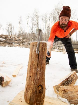 Snapshots of the yurt lifestyle: Chopping wood for the stove that warms the yurt