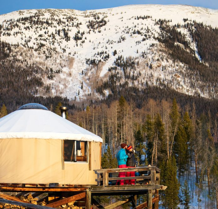 A yurt in the backcountry of the Rockies, part of the Never Summer Nordic yurt and hut system.
