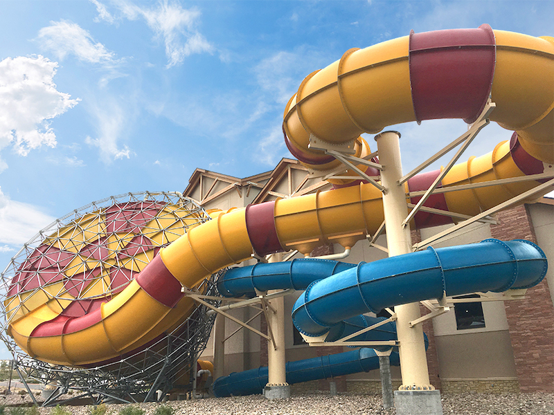 The waterslides at Great Wolf Lodge curve around the building that make for a thrilling ride.