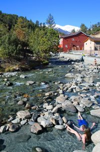 soakers in the creek at mount princeton hot springs
