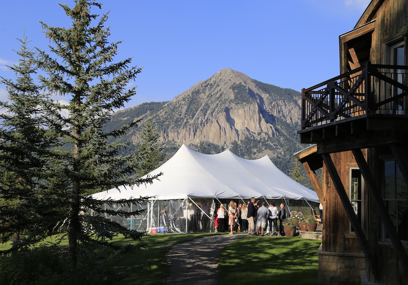 food and wine festival tent beneath mount crested butte