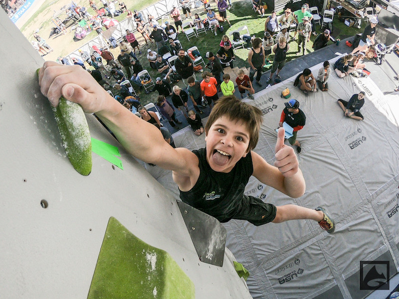 kid rock climbs at GoPro mountain games festival