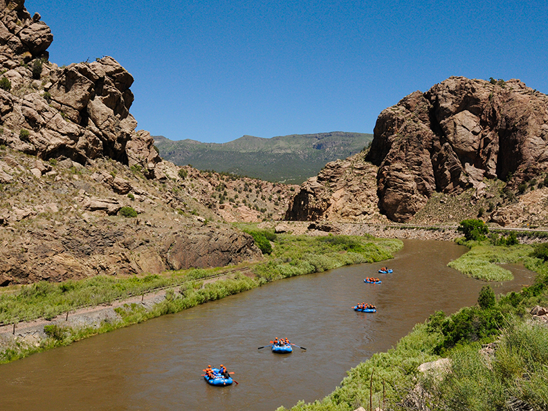 rafting a quiet stretch of the arkansas river