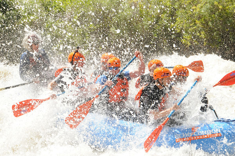 rafting with drenching whitewater spray
