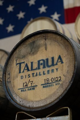 Traditional pot-still whiskey in a barrel at Talnua Distillery on the Colorado Spirits Trail