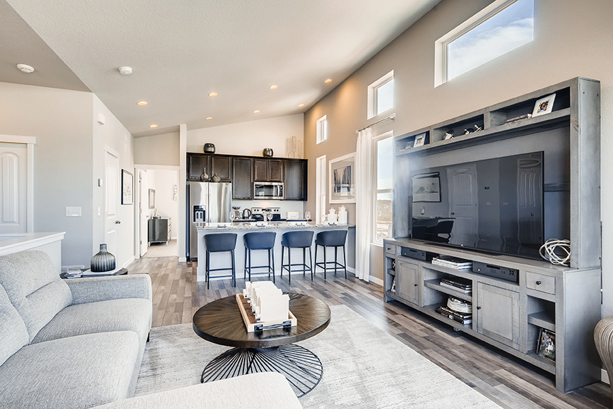 open kitchen and living room in classic homes midtown collection