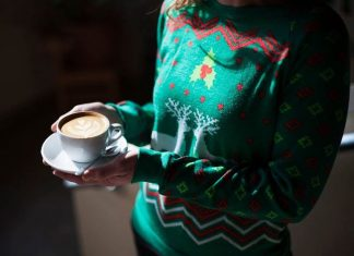 christmas sweater and latte at the Principal's Office