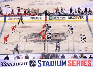 Colorado Avalanche hockey team playing NHL Stadium Series game at Coors Field in 2016