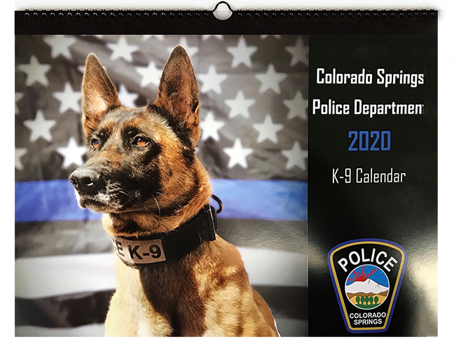 Local calendar featuring Colorado Springs Police Department canine officers