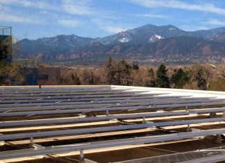 Worner solar panels at Colorado College that helps reduce the institution's carbon footprint