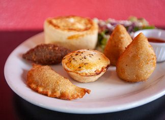 Ethnic cuisine, Brazilian pot pies, pastels and coxinha appetizer at Taste of Brasil