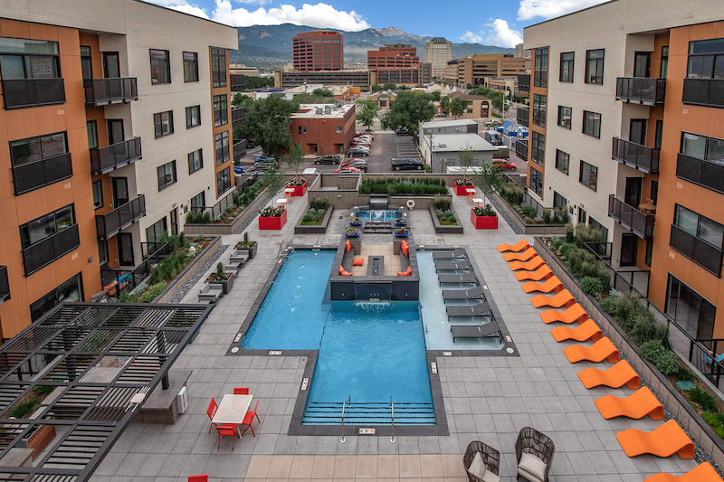 Poolside at 333 ECO Apartments. Downtown Colorado Springs.
