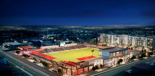 Envisioning the downtown C4C stadium, home of Switchbacks FC and Weidner Apartments.