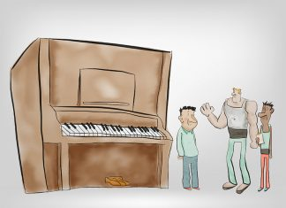 Piano moving illustration.