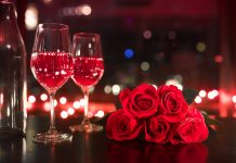 wine and roses for Valentine's Day