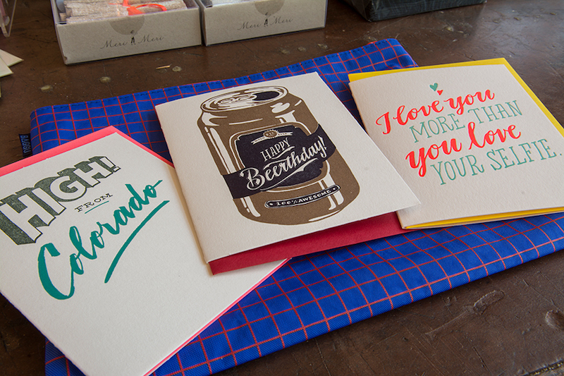 One of Colorado Springs' local businesses Ladyfinger Letterpress displays hand printed cards