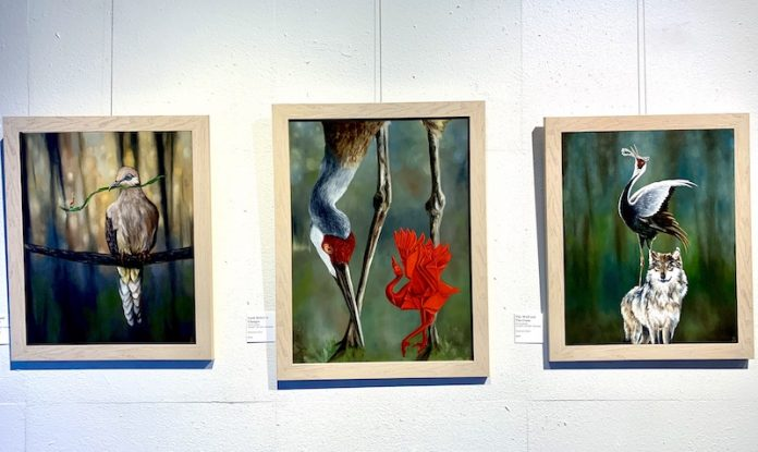 Paintings in the Fable exhibit by Shannon Dunn at Kreuser Gallery, part of Virtual First Friday