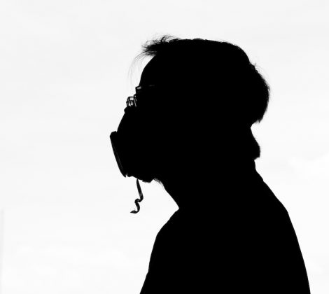 Colorado Springs pandemic photos, silhouette with protective mask