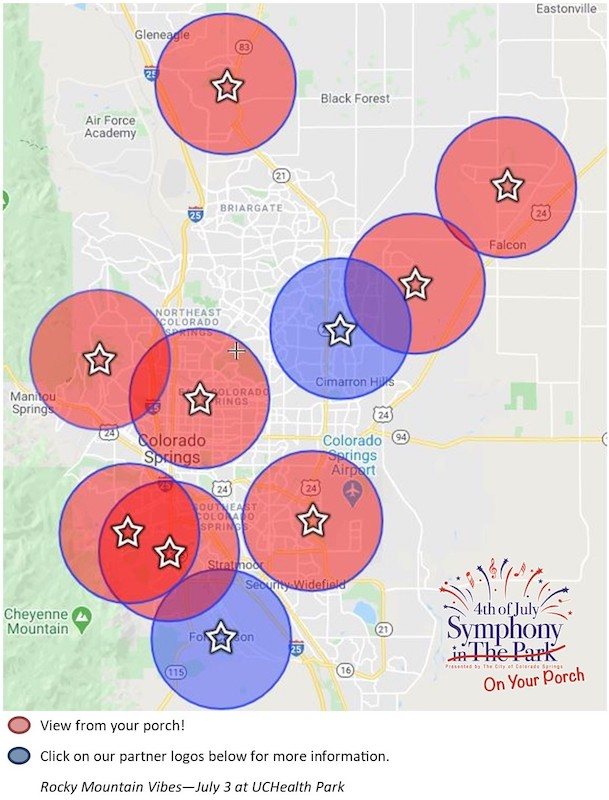 map of 4th of july fireworks in Colorado Springs