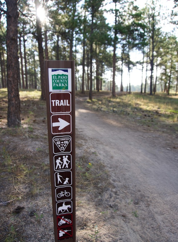 Trail sign in the Pineries Open Space